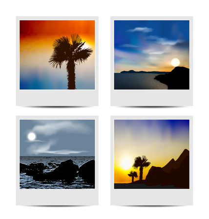 Illustration set photo frames with beaches - vector illustration
