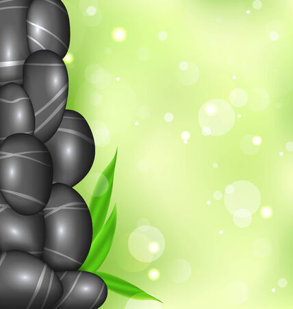 stacked stones: Illustration spa background with bamboo leaves and stones - vector Stock Photo