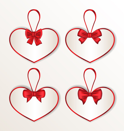 Illustration set elegance cards heart shaped with silk bows for Valentine Day - vector illustration