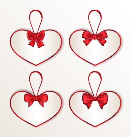 Illustration set elegance cards heart shaped with silk bows for Valentine Day - vector illustration