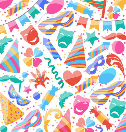 carnival background: Illustration festive wallpaper with carnival and party colorful icons and objects - vector Illustration