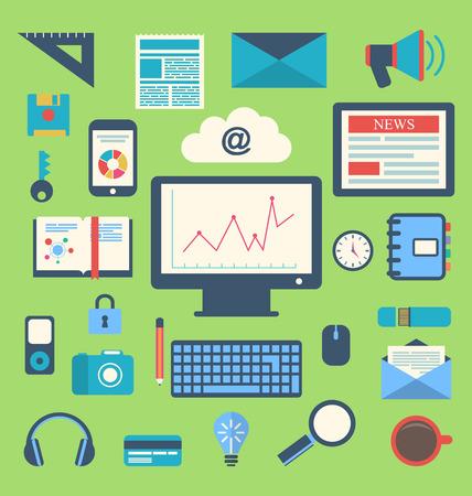 herramientas de trabajo: Iconos planos Ilustraci�n de los objetos cotidianos de moda, material de oficina y art�culos de negocio para el uso diario - vector Vectores