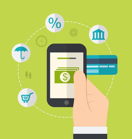 Ilustracja pojęcia płatności internetowych. Ikony dla bramy płatności online, funduszy elektronicznych, płaskiej konstrukcji styl - wektor