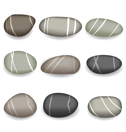 pebbly: Illustration set sea pebbles with shadows on white background - vector