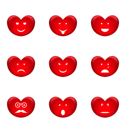 high spirited: Illustration set of smiles of heart shape with many emotions, isolated on white background - vector Illustration