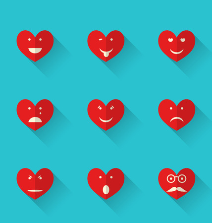 Illustration set flat icons of smiles heart, style with long shadows - vector Vector