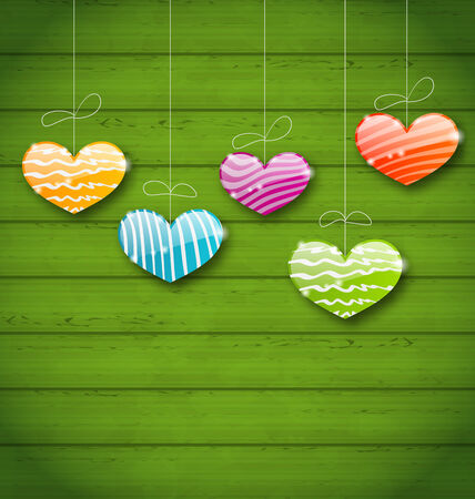 Illustration colorful hearts hanging on green wooden texture for Valentine Day - vector Vector