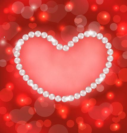 lighten: Illustration lighten background with heart made in pearls for Valentine Day, copy space for your text - vector Illustration