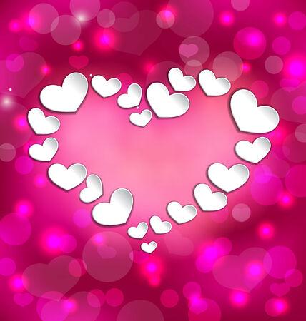 lighten: Illustration lighten background with hearts for Valentine Day - vector Illustration