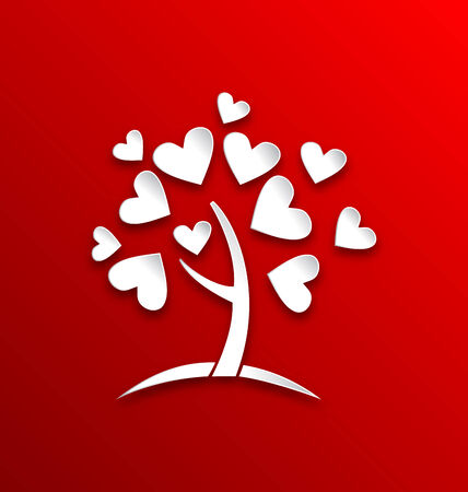 Illustration concept of tree with heart leaves, paper cut style - vector Vector