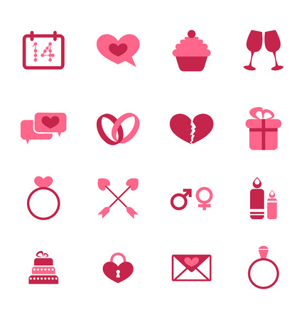 Illustration trendy flat icons for Valentines Day, design elements, isolated on white background - vector Vector