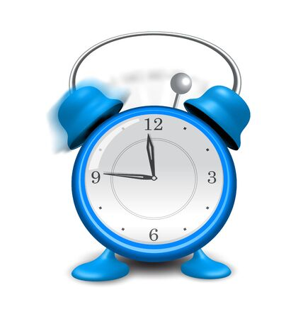 close up isolated: Illustration blue alarm clock close up, isolated on white background - vector Illustration