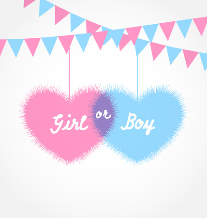 human gender: Illustration pink and blue baby shower in form hearts with hanging pennants - vector
