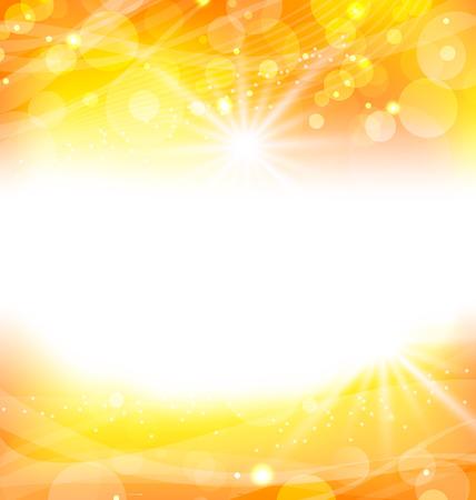 fond abstrait orange: Illustration abstrait orange avec des rayons de lumi�re du soleil - vecteur Illustration