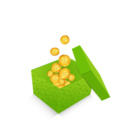 Illustration open cardboard box  with golden coins for St. Patricks Day, isolated on white background - vector Vector