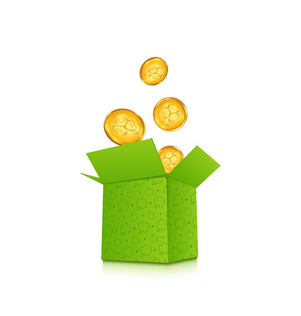 17th march: Illustration open cardboard box with golden coins for St. Patricks Day, isolated on white background - vector