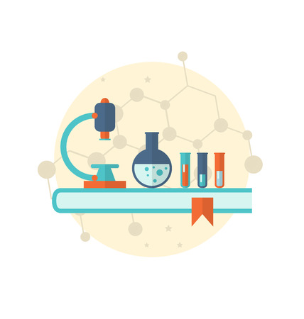 chemical laboratory: Illustration flat icon of objects chemical laboratory - vector Illustration