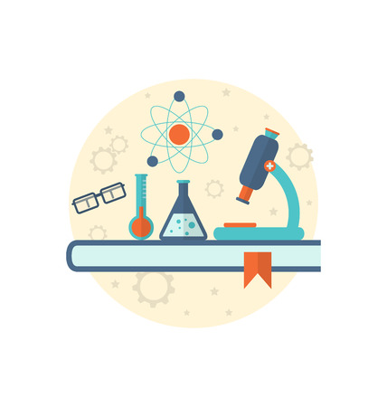 chemical engineering: Illustration chemical engineering background with flat icon of objects - vector