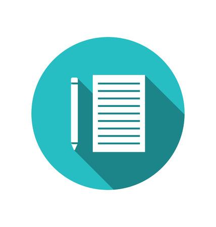 papel de notas: Hoja de papel de icono de l�piz cuted sobre fondo azul redondo con una larga sombra, estilo Metro - vector
