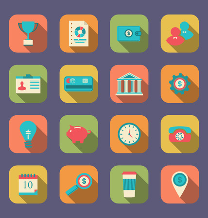 o'clock: Illustration flat icons of web design objects, business, office and marketing items, modern style with long shadow - vector