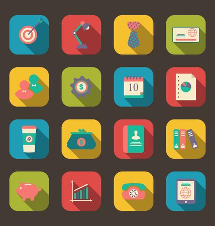 articulos oficina: Iconos planos Ilustraci�n de objetos de dise�o web, art�culos de oficina y negocios, estilo larga sombra - vector