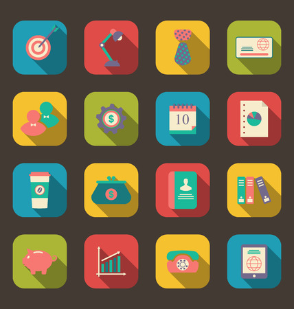 design objects: Illustration flat icons of web design objects, business and office items, long shadow style - vector Illustration