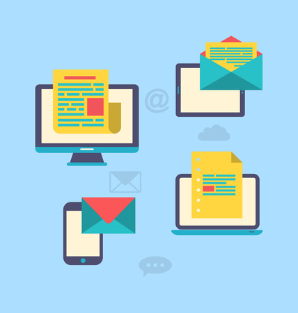 newsletter: Illustration concept of email marketing via electronic gadgets - newsletter and subscription, flat trendy icons - vector