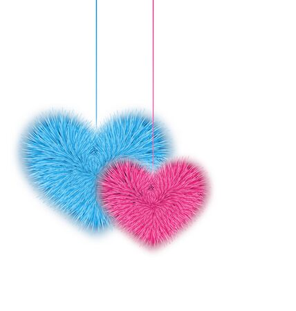 corazones azules: Rosa Ilustraci�n de pieles y azul corazones para el d�a de San Valent�n aislados en el fondo blanco - vector