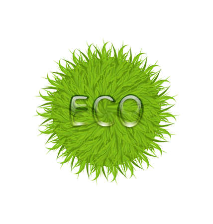 Illustration spring grass circle shape with water drops, isolated on white background - vector Vector