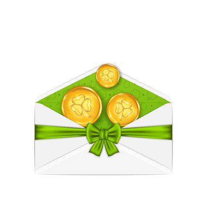 Illustration open white envelope with golden coins and bow ribbon for St. Patricks Day, isolated on white background - vector Vector