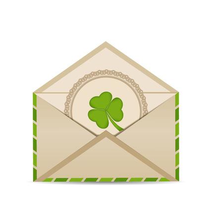 threeleaf: Illustration open vintage envelope with clover isolated on white background for St. Patricks Day - vector Illustration