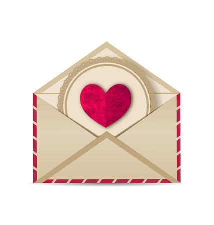 enveloppe ancienne: Illustration coeur grunge paper dans la vieille enveloppe ouverte - vecteur Illustration