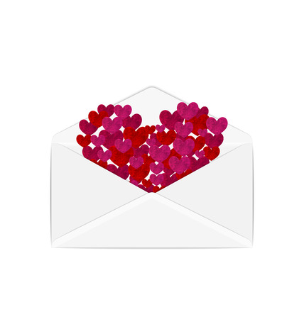 grungy email: Illustration paper grunge hearts in open white envelope - vector Illustration