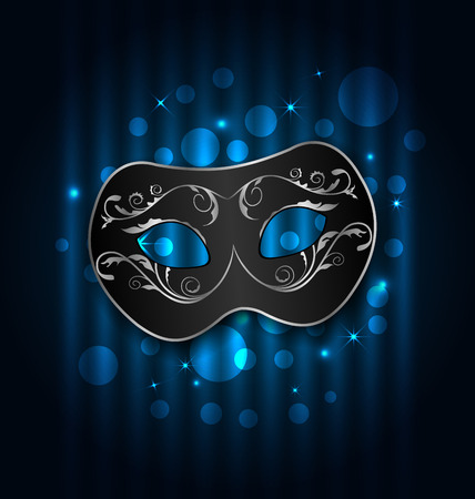 Illustration carnival or theater mask on blue shimmering  background - vector