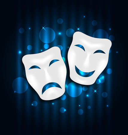tragedy: Illustration comedy and tragedy theatre masks on blue shimmering  background - vector
