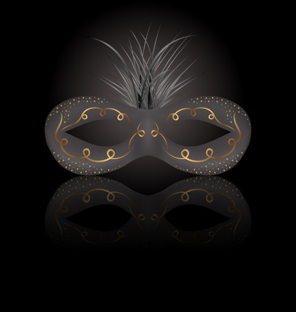 Illustration theater or Carnival mask with reflection on black background - vector
