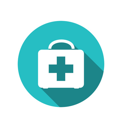 emergency kit: Illustration icon of medicine chest with long shadow in flat style - vector
