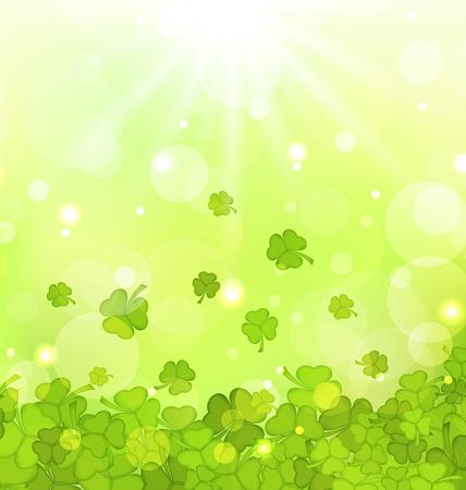 shamrocks: Illustration glowing background with shamrocks for St. Patricks Day - vector Illustration