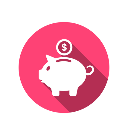 Illustration flat icons of piggy bank concept, long shadow style - vector Vector