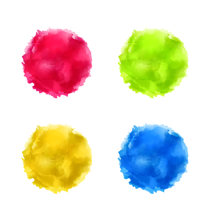 Illustration set abstract watercolor splash, colorful paint circles - vector Vector