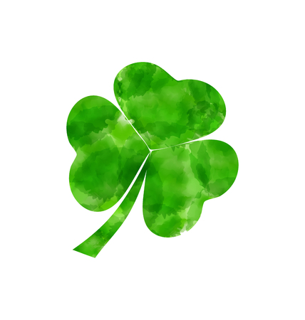 Illustration painted watercolor shamrock isolated on white background for Saint Patrick day - vector Vector
