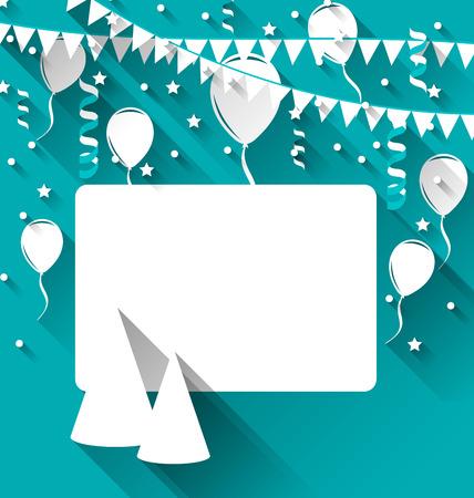 Ilustración celebración con sombreros de fiesta, globos, confeti y banderas que cuelgan - vector Foto de archivo - 36411973