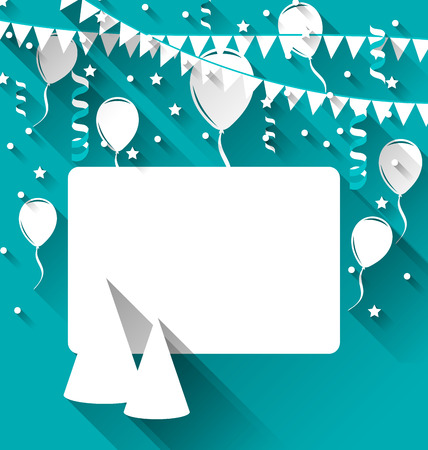 Illustration celebration card with party hats, balloons, confetti and hanging flags - vector