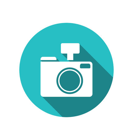 cuted: Icon photo camera white cuted on blue round backdrop with long shadow, Metro style - vector Stock Photo