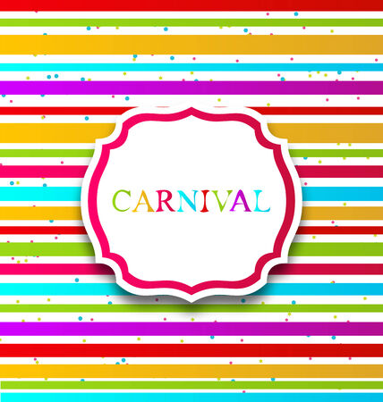 Illustration colorful card with advertising header for carnival - vector illustration