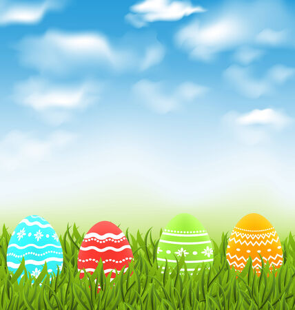 Illustration Easter natural landscape with traditional colorful eggs in grass meadow, blue sky and clouds - vector