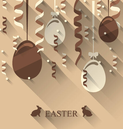 ostern: Illustration Easter background with chocolate eggs and serpentine, trendy flat style - vector Stock Photo