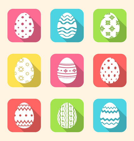 Illustration flat icon of Easter ornate eggs, long shadow style - vector