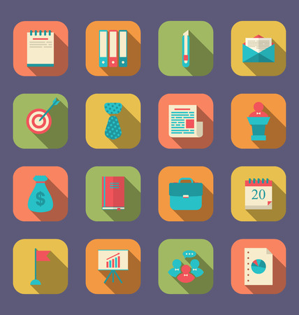 design objects: Illustration modern flat icons of web design objects, business, office and marketing items, long shadow style - vector