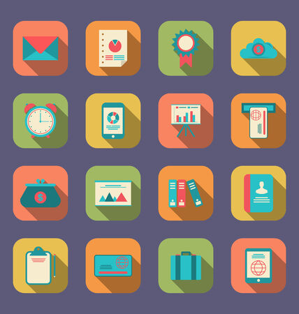 Illustration modern flat icons of web design objects, business, office and marketing items, long shadow style - vector illustration